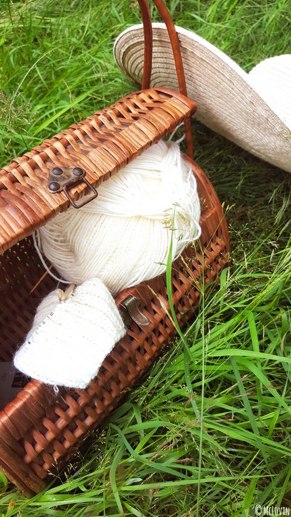 Tricot dans un panier chiné à côté du chapeau de McLovin dans son jardin