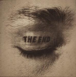 """""""The End"""" - Tatouage de paupière de Timm Ulrichs réalisé par """"Tattoo Sany"""" aka Horst Heinrich Streckenbach"""