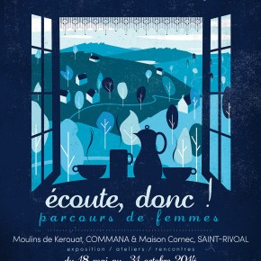 """Affiche de l'exposition temporaire """"Ecoute donc ! Parcours de femmes"""" de l'Ecomusée des Monts d'Arrée"""