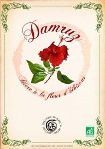 Etiquette de la bière bretonne à l'hibiscus Damruz de la brasserie An Alarc'h