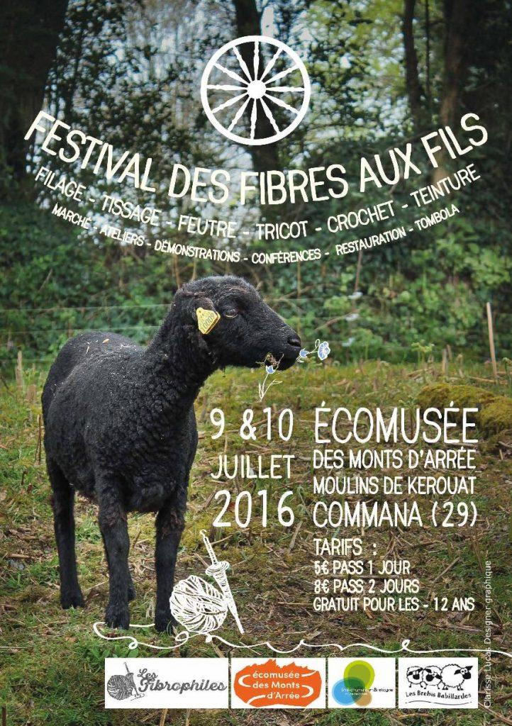 """L'affiche """"Des Fibres au Fil"""", festival de laine, tricot etc dans les Monts d'Arrée en Bretagne"""
