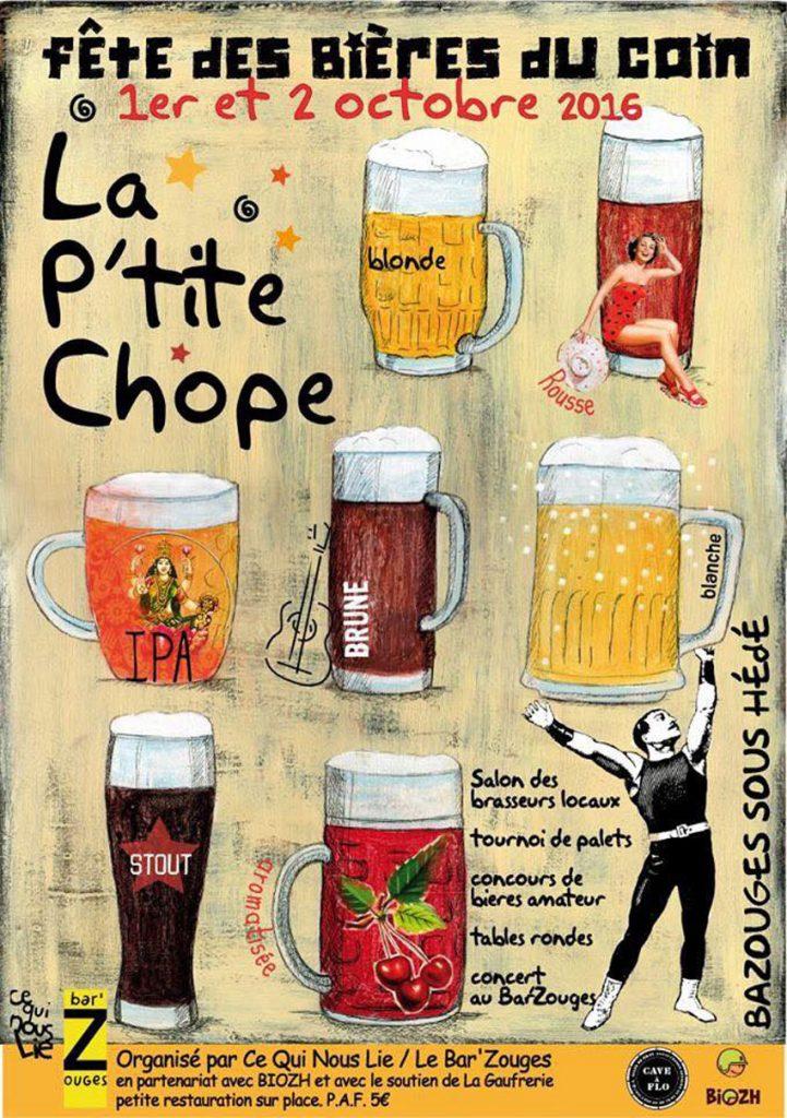 Affiche de la fête des bière locales La P'tite Chope à Hédé-Bazouges (35) en octobre 2016