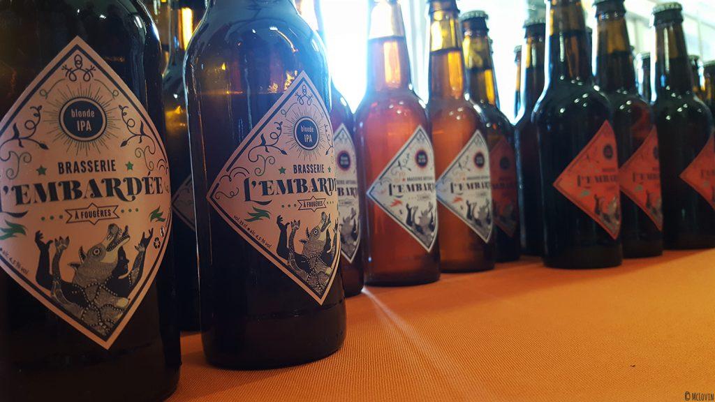 Bouteilles de bières de la brasserie l'Embardée de Fougères (35) à LA P'tite Chope, fête des bières locales à Hédé-Bazouges en octobre 2016