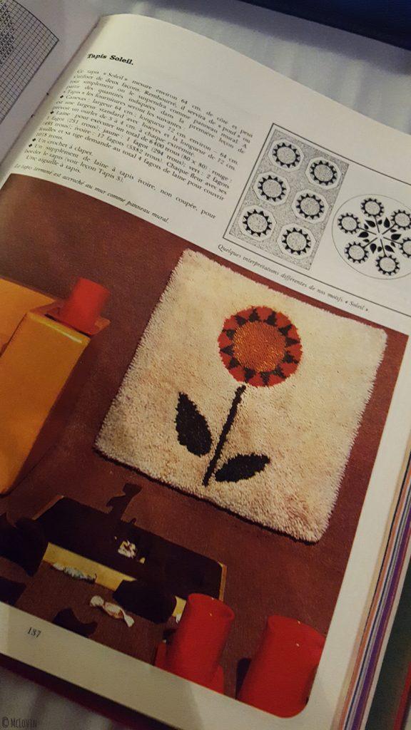 Le modèle du tapis tournesol à points noués que je me mets au défi de réaliser cette année!
