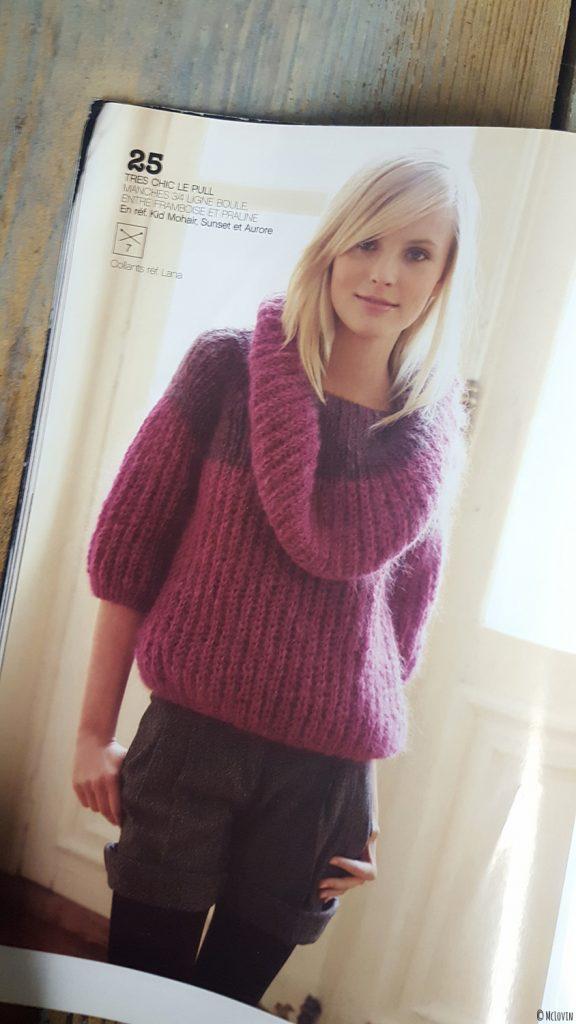 Le modèle du pull rose Phildar que j'ai tricoté il y a quelques années.