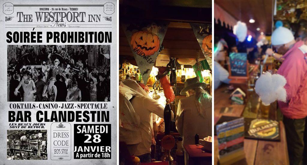 Différentes images de soirées thématiques au Westport Inn, bar et pub irlandais à Rennes.