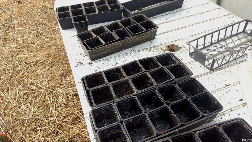 Les godets plastiques dans la serre près à accueillir les graines et le mélange terre / terreau.