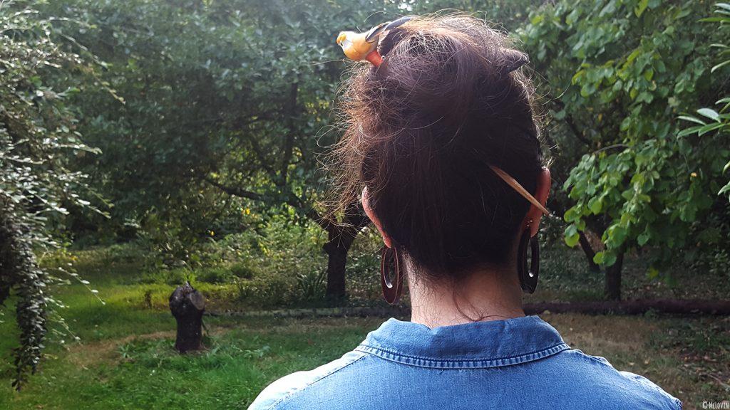 Le pique à cheveux oiseau fait maison DIY porté dans les cheveux de McLovin.