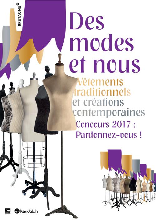 """L'affiche du concours Des Modes et Nous 2017 sur le thème """"Des Modes et Nous"""" par la confédération de danse et costumes bretons Kendalc'h."""