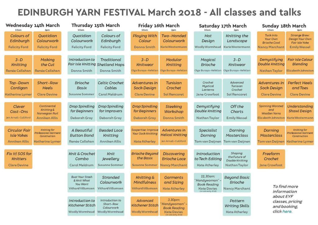 L'emploi du temps des ateliers et workshops de l'Edinburgh Yarn Festival 2018, festival de laine et de tricot d'Édimbourg en Écosse.