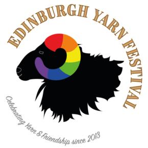 Le logo de l'Edinburgh Yarn Festival 2018, festival de laine et de tricot d'Édimbourg en Écosse.