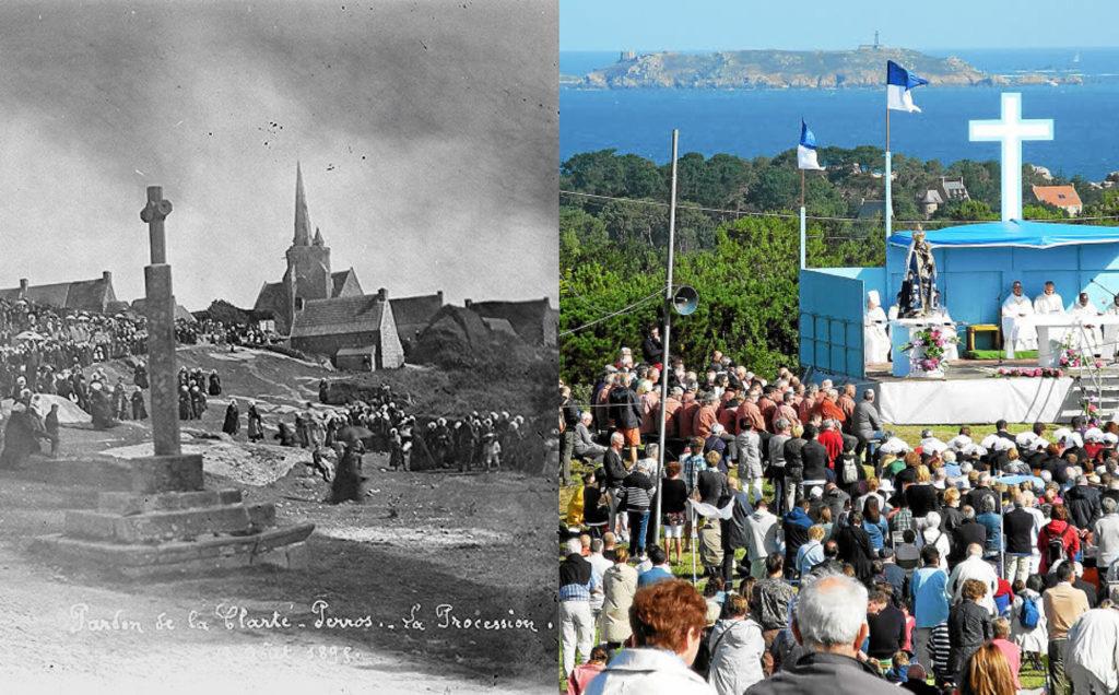 Deux images du pardon de La Clarté en Perros-Guirec à deux époques différentes pour illustrer mon dossier du concours Des Modes et Nous de la confédération Kendalc'h en 2017.